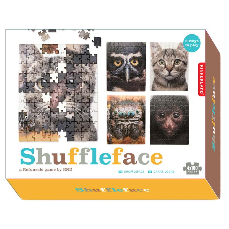 Puzzle 4x100 piese - Shuffleface | Kikkerland