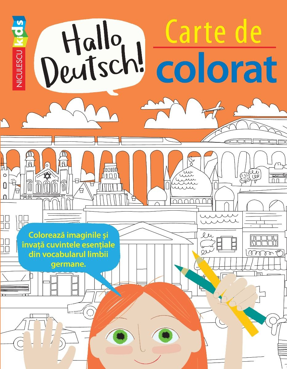 Carte De Colorat - Hallo Deutsch! - Editie Bilingva | Sam Hutchinson, Emilie Martin